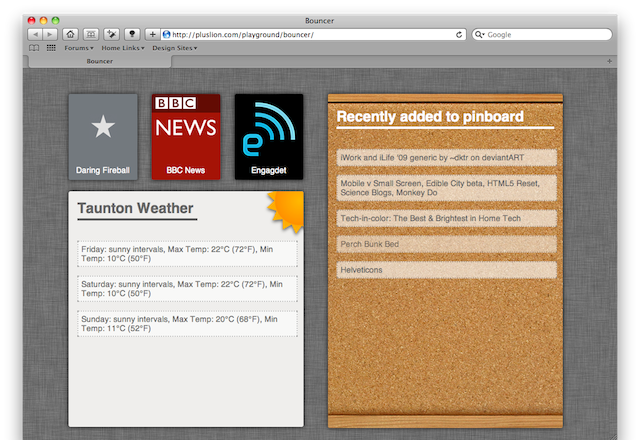 Screen Shot of the bouncer ipad homepage, showing links, weather and pinboard account