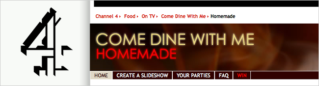 screenshot of come dine with me homemade, with channel 4 logo
