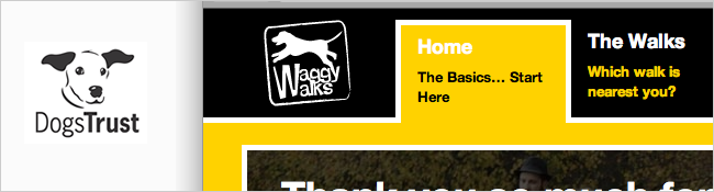 Waggywalks website screenshot, with dogs trust logo overlaid.